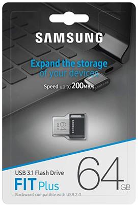 Pendrive SAMSUNG MUF-64AB/AM 64gb Fit Plus Flash Drive USB 3.1 200mb/s Tipo A